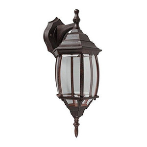 Sunset F7813-62 Clear Beveled Glass 1-Light Rubbed Bronze Cast Aluminum Lantern
