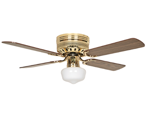 "Sunset CF42839-10 42"" 4-Light/Dark Oak Blades Polished Brass Hugger Schoolhouse Ceiling Fan with Light Kit"