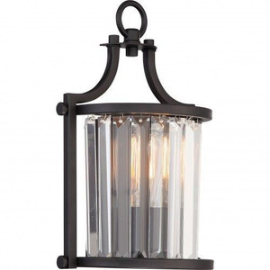Nuvo Lighting 60-5776 Krys Aged Bronze 1 Light Crystal Wall Sconce With 60w Vintage Lamp Inc.