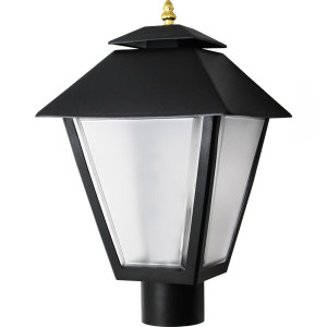 27W LED Post Top Black Square Coach Post Lantern Light Pole Mount