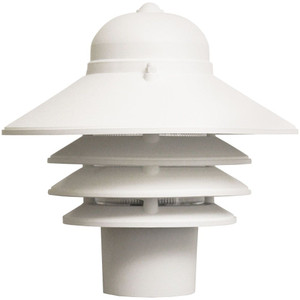 9W LED Post Mount White Polycarbonate Nautical Tiered Fixture 3000K