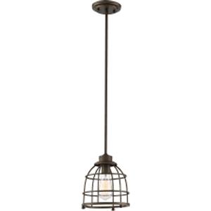 Nuvo Lighting 60-5848 Maxx Mahogany Bronze 1 Light Medium Caged Pendant With 60w Vintage Lamp Inc.
