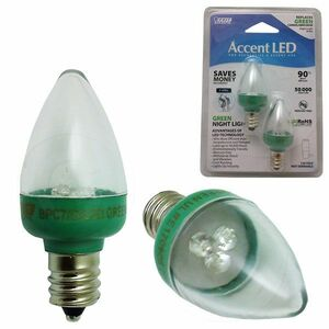Feit Electric BPC7/G/LED 1W 120V Green C7 Night Light Bulb 2 Pk