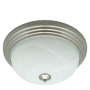 Brushed Nickel LED Emergency Backup Glass Ceiling Light