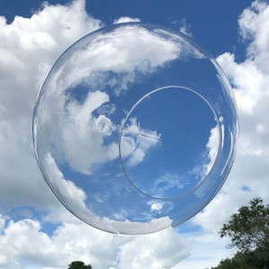 "16"" Clear Plastic Light Globe with Neckless Opening"