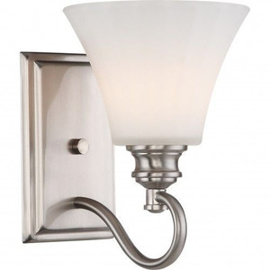 Nuvo Lighting 62-801 Tess Brushed Nickel 1 Light LED Vanity Fixture With Frosted Fluted Glass
