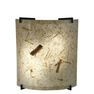 23W LED Natural Teak Acrylic Curved Wall Sconce Black Accents 3000K