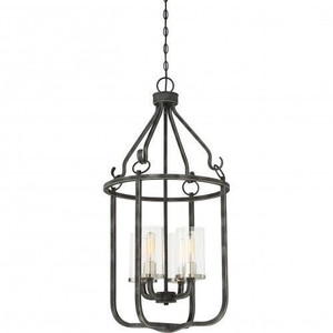 Nuvo 60-6127 Iron Black with Brushed Nickel 4 Light Ceiling Mount Fixture