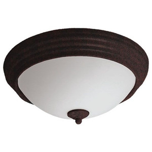 23W LED Frosted Glass Lens Decorative Brushed Rust Ring Indoor Ceiling Light 3000K
