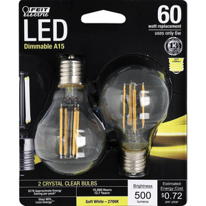 Feit Electric BPA1560N/827/LED/2 500 Lumen 2700K Dimmable LED 2-Pack