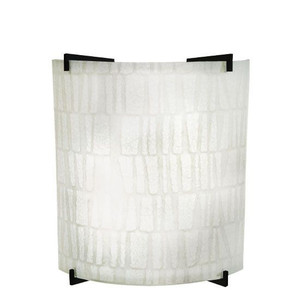 23W LED Stone Linen Acrylic Curved Wall Sconce Black Accents 4000K