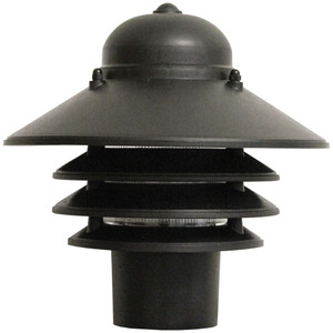 9W LED Post Mount Black Polycarbonate Nautical Tiered Fixture 2700K