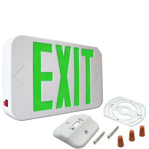 Fulham FHEX20-WG-EM Emergency Plastic LED Exit Sign White with Green Letters