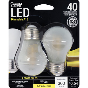 Feit Electric BPA1540/F/827/LED/2 4.5W Frosted LED A15 2700K 2-Pack