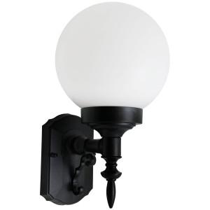 18W CFL Elegant Porch Light White Globe Black Housing 4100K