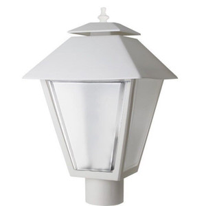 White Plastic Exterior Coach Lantern Post Top Light with Medium Socket
