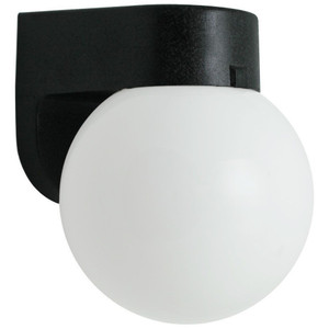 Incandescent Plastic Outdoor Black Porch White Globe Wall Light Fixture