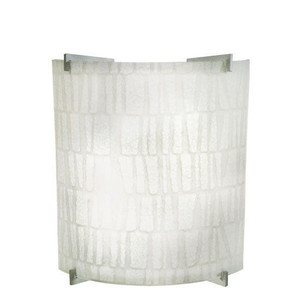 Decorative Curved ADA Wall Sconce White Stone Linen Lens