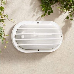 Oval Outdoor White Nautical Plastic Bulkhead Wall Light Fixture
