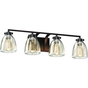 Volume V3314-79 4-Light Indoor Antique Bronze Vintage-Inspired Bath or Vanity Light Bar, Wall Mount, or Wall Sconce with Clear Glass Jar Bell Shades