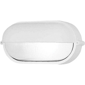 Volume V8861-6 1-Light Indoor or Outdoor White Aluminum Nautical-Inspired / Industrial-Inspired Convertible Flush Mount Ceiling Fixture, Wall Mount, or Wall Sconce with Frosted Ribbed Glass Half / Semi Oval Sphere