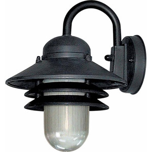 Volume V9725-5 1-light Black Plastic Tiered Outdoor Nautical Wall Lantern