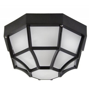 Black Web Octagon with Frosted Diffuser Outdoor Flush Mount