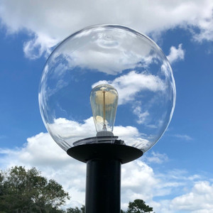 12 Inch Clear Globe Outdoor Post Top Light Fixture
