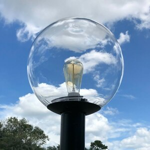12 Inch Clear Globe Ball Outdoor Post Top Light Fixture