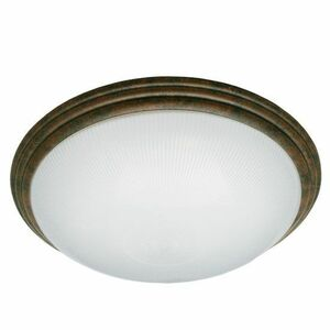 """16"""" Translucent Frosted Ribbed Acrylic Lens Decorative Brushed Rust Ring Medium Indoor Ceiling Light 34W LED 3000K"""