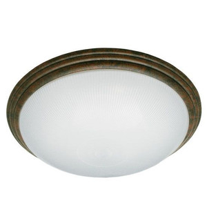 "16"" Translucent Frosted Ribbed Acrylic Lens Decorative Brushed Rust Ring Medium Indoor Ceiling Light 24W LED 2700K"