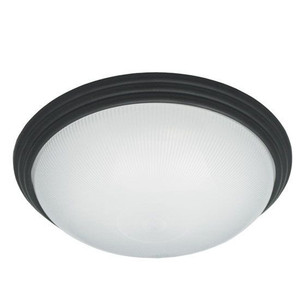 "16"" Translucent Frosted Ribbed Acrylic Lens Decorative Black Ring Medium Indoor Ceiling Light 24W LED 3000K"