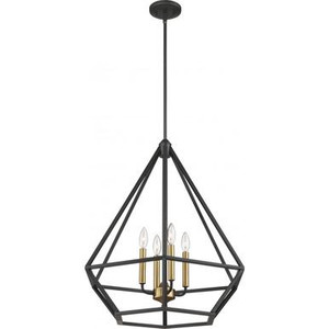 Nuvo 60-6361 Aged Bronze with Vintage Brass 4 Light Ceiling Mount Fixture