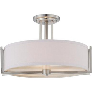 Nuvo 60-4758 Brushed Nickel 3 Light Ceiling Mount Fixture