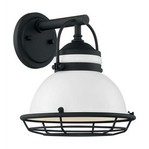 Nuvo 60-7081 Gloss White and Textured Black Wall Mount Fixture