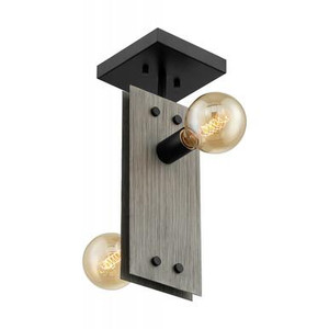 Nuvo 60-7231 Driftwood and Black 2 Light Ceiling Mount Fixture