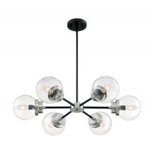 Nuvo 60-7136 Matte Black and Brushed Nickel 6 Light Chandelier Fixture