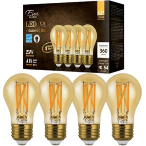 Euri Lighting VA15-3020ea-4 A15 Amber Glass Light Bulb 4 Pack