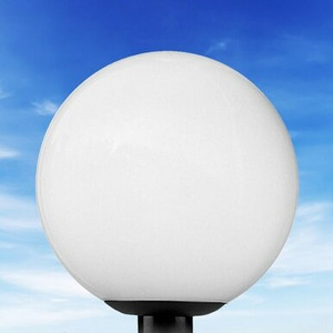 "10"" White Globe Post Top Light Fixture"