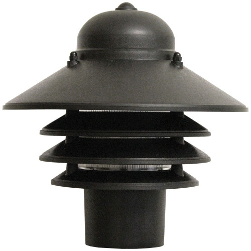 9W LED Post Mount Black Polycarbonate Nautical Tiered Fixture 3000K