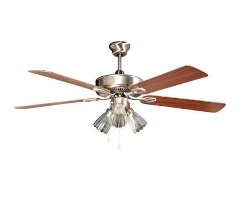 """Sunset CF52838-50-L 52"""" 5-Mahogany Blades Stainless Steel San Marcos Ceiling Fan with Light Kit"""