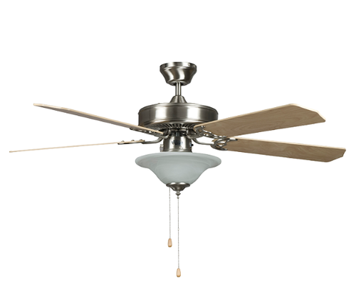 "Sunset CF52878-50-L 52"" 5-Chrome/Rosewood Blades Stainless Steel Heritage Square Ceiling Fan with Bowl Light Kit"