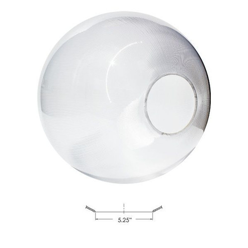 """20 Inch Clear Globe Lighting Cover 5.25"""" Opening Neckless Acrylic"""