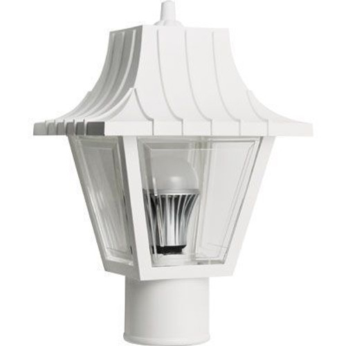 11W LED White Mansard Outdoor Textured Clear Lens Post Lantern Light 2700K