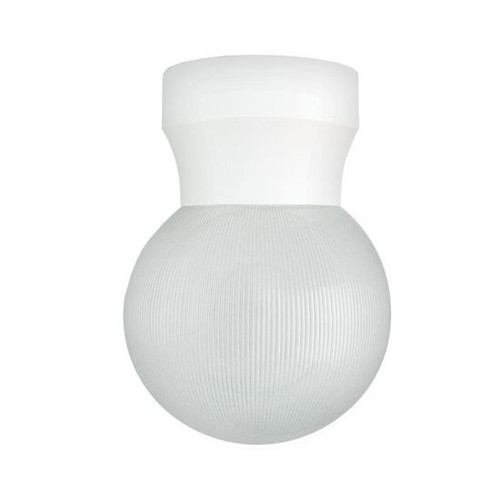 60W Max White Economy Light Fixture with Clear Prismatic Globe Lens