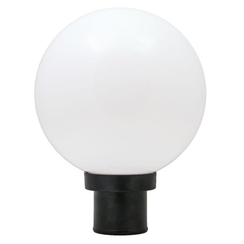 60W Max Yard Light Pole Mount 10 Inch White Globe Cover with Black Base