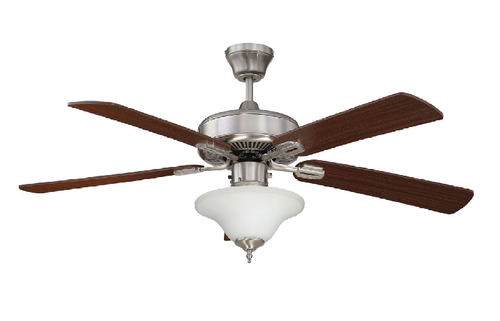 """Sunset CF52868-50-ES-LED 52"""" 5-Rosewood / Dark Walnut Blades Stainless Steel Heritage Design Ceiling Fan with LED Bowl Glass Light"""