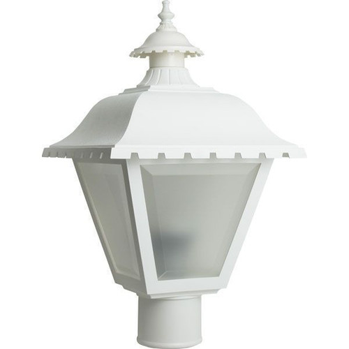 11W LED White Lantern Style Post Top Light Frosted Lens 2700K