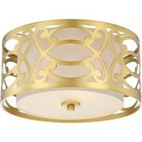 Nuvo Lighting 60-5961 Filigree Natural Brass 2 Light Flush Fixture With Beige Linen Shade Natural Brass
