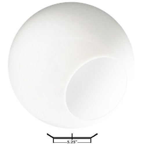 """20 Inch White Globe Lighting Cover 5.25"""" Opening Neckless Acrylic"""